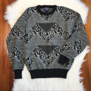 {Vintage} Geometric Printed Oversized Sweater